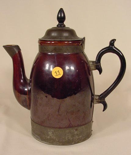 11: Brown Stoneware Coffee Pot with Tin Lid NR