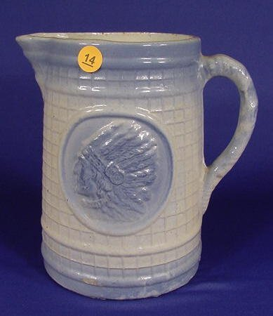 14: Blue and White Stoneware Pitcher NR
