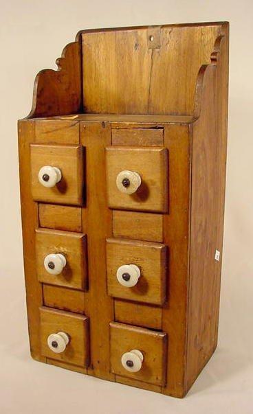17: 6 Drawer Primitive Spice Cabinet NR
