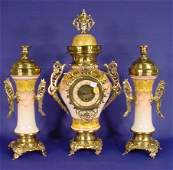 179 3 Pc French Pottery  Brass Clock Set NR