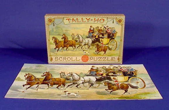 342: Tally-Ho Scroll Puzzle in Original Box NR