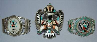 3 Native American Zuni Silver & Turquoise Bracelets