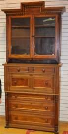 2 Piece Walnut and Birdseye Maple Secretary/Bookcase