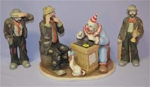 3 Emmett Kelly, Jr. Porcelain Clowns by Flambro
