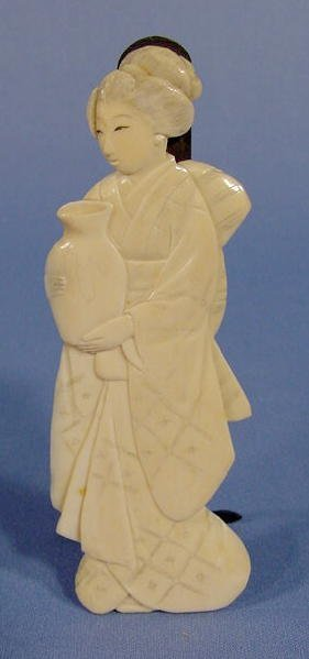 1: Japanese Ivory Figure of a Woman W/ Vase NR