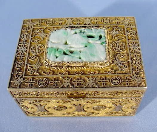 3: Chinese Silver and Jade Fruit Box NR