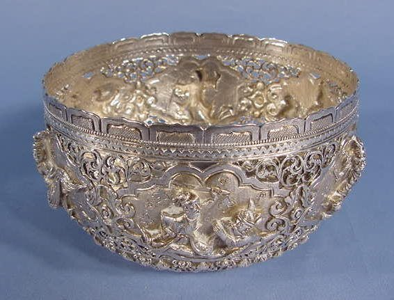 4: Ornate Silver Bowl With Fight Scene NR