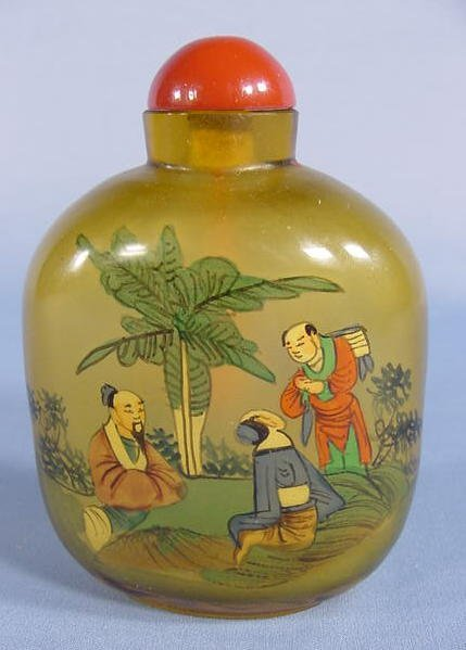5: Large Glass Reverse Painted Snuff Bottle NR