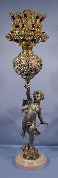 6: Cherub White Metal & Jeweled Banquet Lamp NR