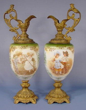 7: Pair Victorian Children Decorated Mantel Ewers NR