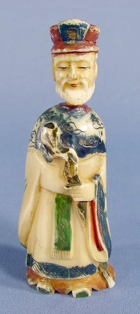 8: Ivory Figural Lord Snuff Bottle NR