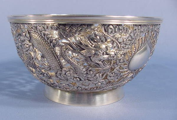 10: Silver Repousse Bowl With Dragons NR