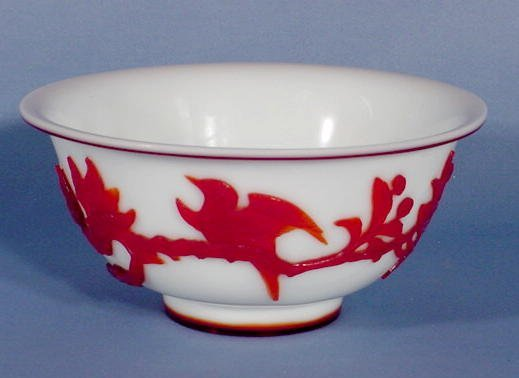 11: Red Over White Bird & Branch Peking Glass Bowl NR