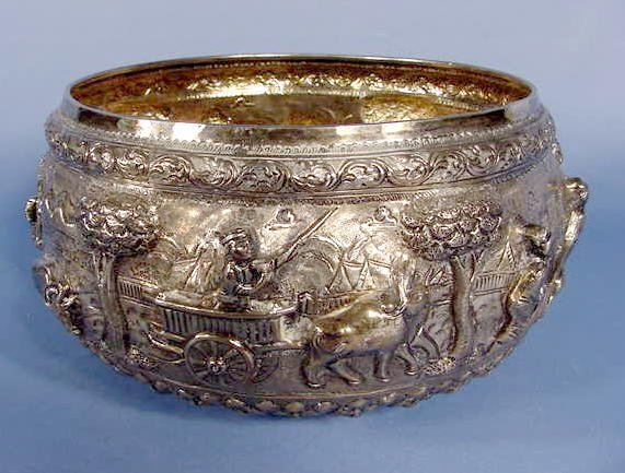12: Large Japanese Silver Bowl, Farming Scene  NR