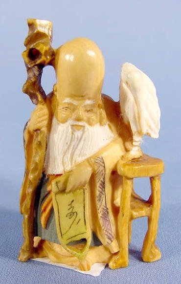 13: Ivory Netsuke of Elder, Staff, Scroll & Crane NR