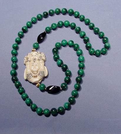 15A: Malachite and Ivory Single Strand Necklace NR