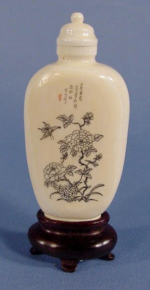 17: Engraved Floral & Butterfly Ivory Snuff Bottle NR