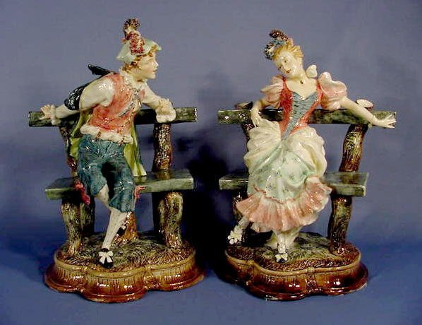 76: Two Majolica Figures: Seated on Benches NR