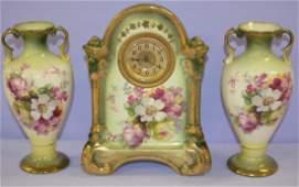 Antique 3 Piece China Miniature Floral Clock Set