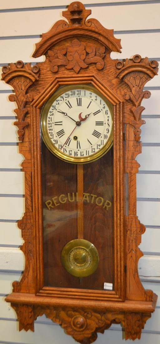 Antique Ingraham Calendar Regulator Clock