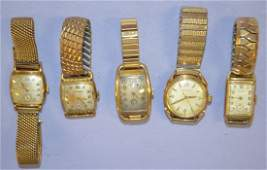 5 Vintage Bulova Men's Wrist Watches with Metal Bands