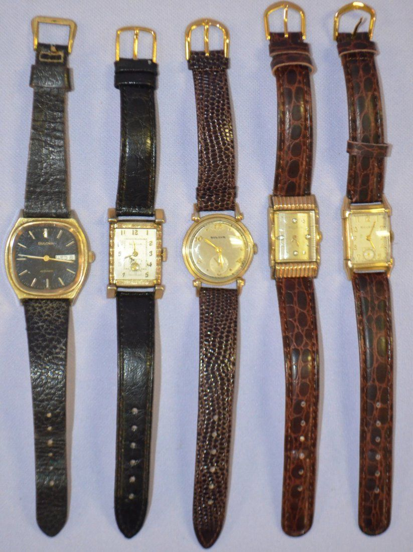 5 Vintage Bulova Wrist Watches