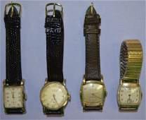 4 Vintage Men's Wrist Watches, Wittnauer, Holland +