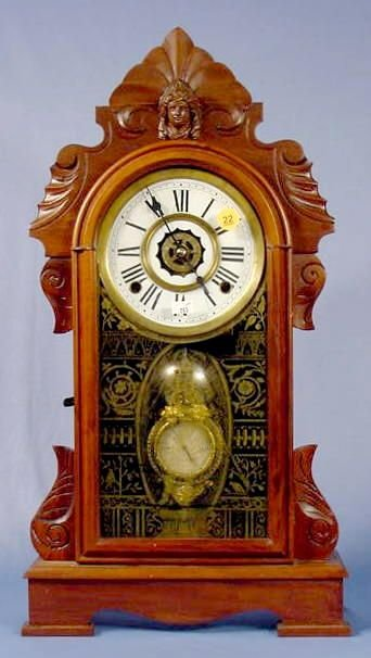 22: Ansonia Walnut Mantel Clock NR