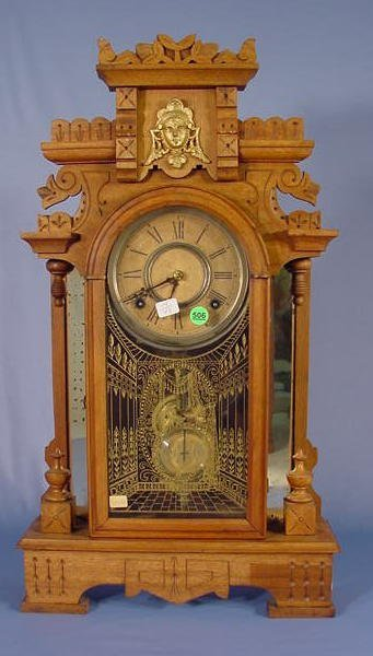 506: Kroeber Artic Mirror Side Parlor Clock NR