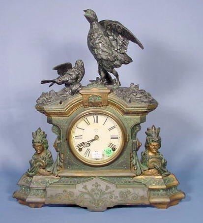 507: Ansonia Figural Game Birds Clock NR