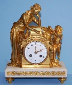 510: Vincenti Bronze Cupid & Lady Figural Clock NR