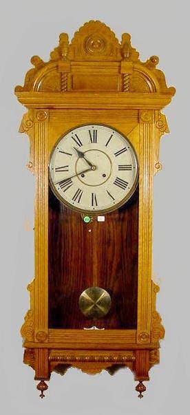 513: Waterbury Cambridge Oak Hanging Clock NR