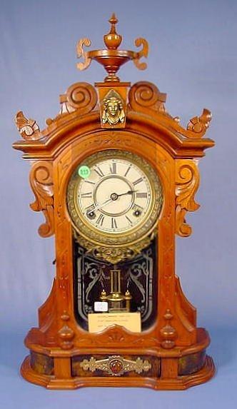 515: Ansonia Monarch Walnut Parlor Clock NR