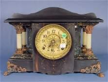 758: Seth Thomas Adamantine and Black Mantel Clock NR