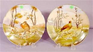 Pair Haviland Game Bird Plates NR