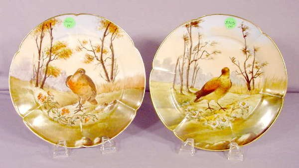 3505: Pair Haviland Game Bird Plates NR