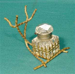 Cut & Faceted Glass Inkwell & Holder NR