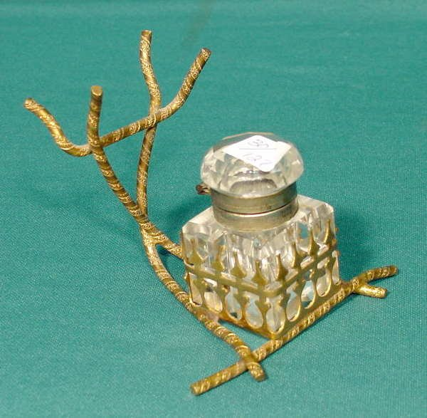 3506: Cut & Faceted Glass Inkwell & Holder NR