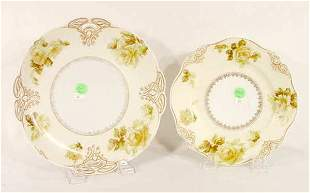 Pair Silesia Old Ivory Plates (One Handled) - NR