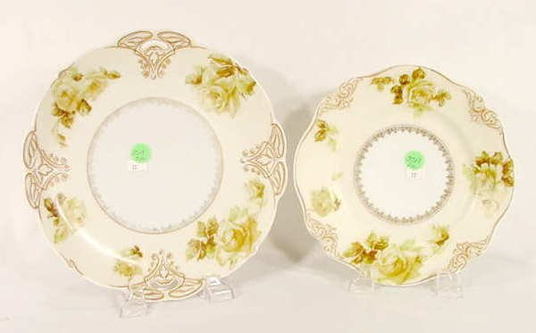 3511: Pair Silesia Old Ivory Plates (One Handled) - NR
