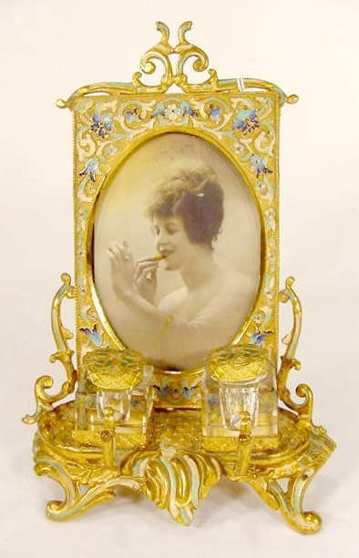 3516: Victorian Champleve Frame & Double Inkwell... NR