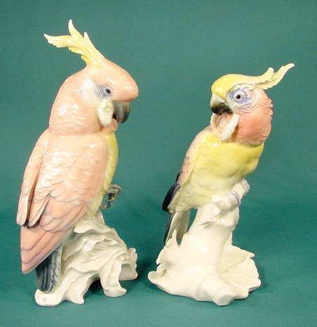 3519: 2 Full Figural Porcelain Parrots NR