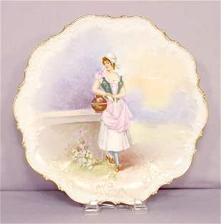 """AKD Limoges 12 1/2"""" Plate of Young Woman Dutvig"""