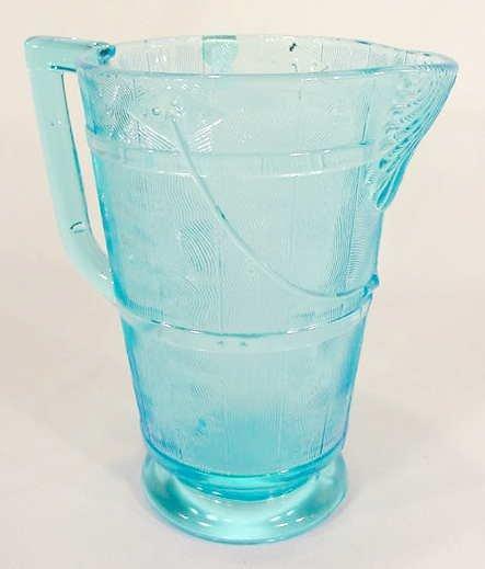 3524: EAPG Blue Sapphire Oaken Bucket Water Pitcher NR