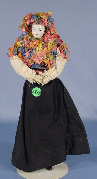 1220: China Head Doll W/ Leather Arms, 13""