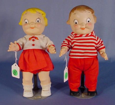 1225A: Pair of Plastic Campbell Kid Dolls, 10""