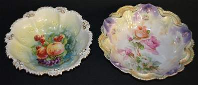 2 RS Prussia Floral Bowls, Both Signed