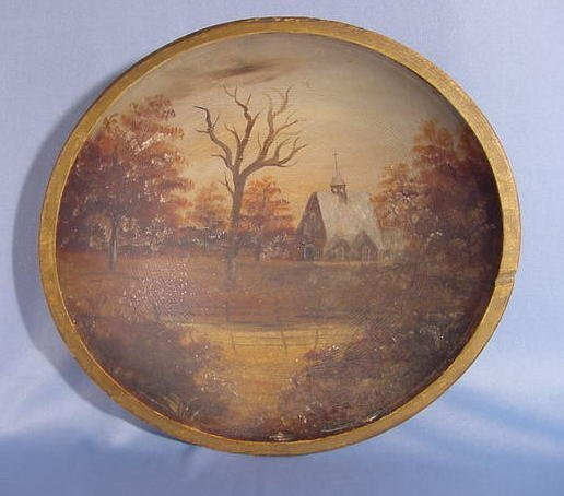 1: Turned Wood Bowl w/Autumn Country Church Scene