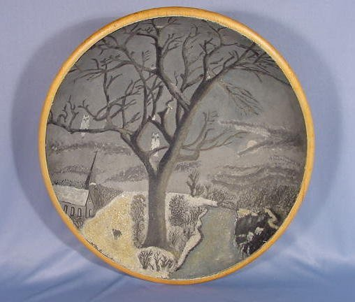 3: Decorated Wood Bowl w/Winter Scene