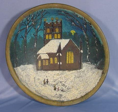 4: Turned Wood Bowl w/Winter Country Church Scene